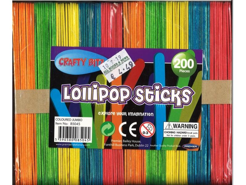Lolli-pop Sticks Jumbo Assorted Colours 200 Pack