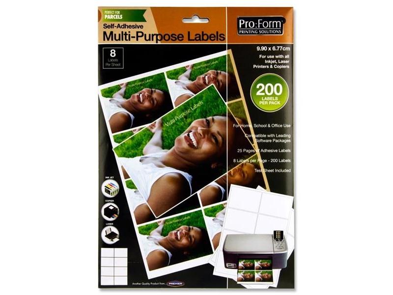 Computer Labels 8 Per Sheet 99.1mmx67.8mm - 200 Per Pack