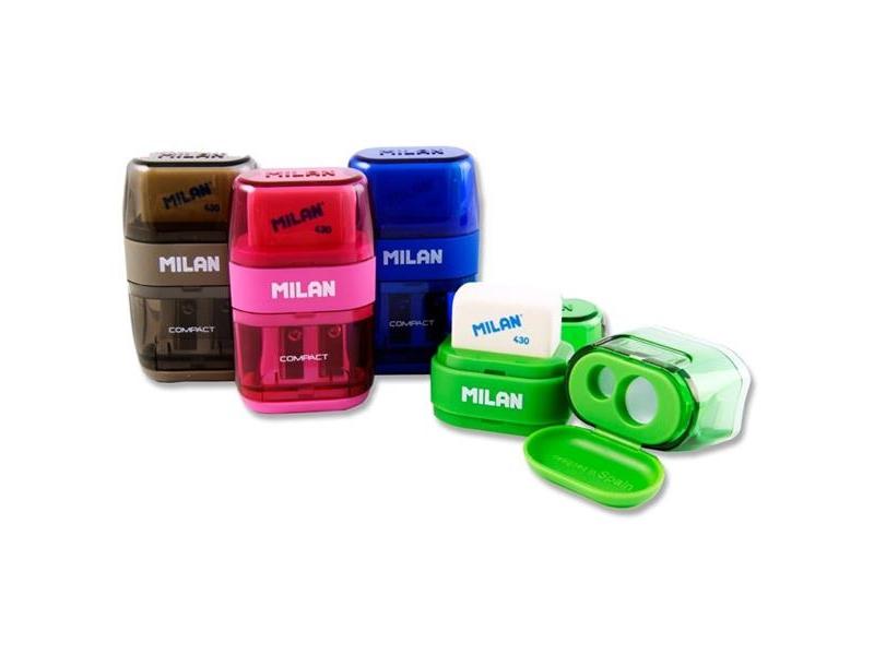 Milan Double Hole Barrel Sharpener & Eraser - Assorted Colours