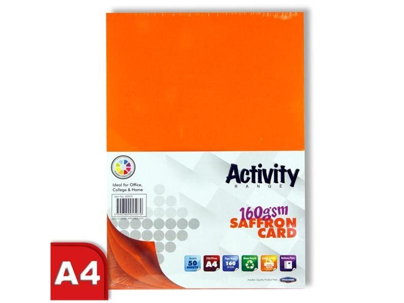 Orange Card (Saffron) A4 50 Pack 160gsm
