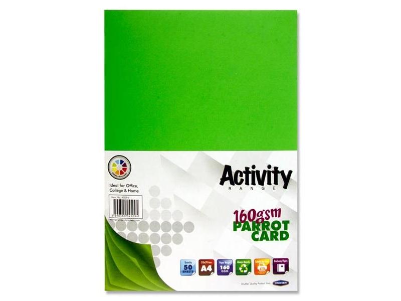 Green Card (Parrot) A4 Pack 50 - 160gsm