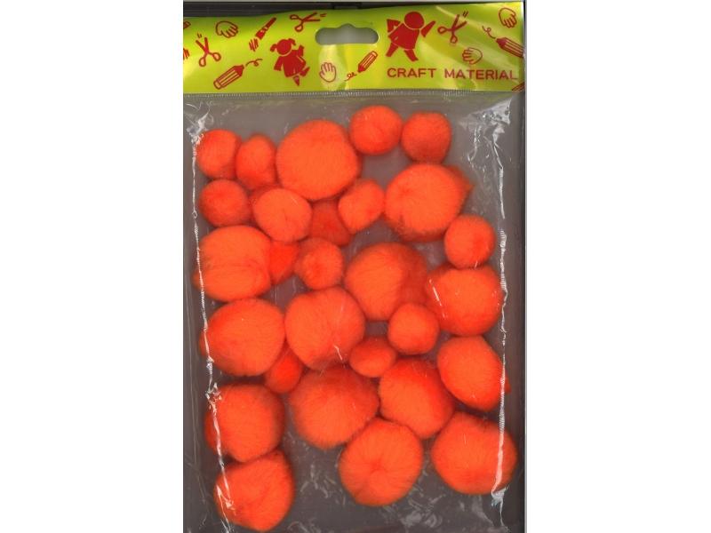 Pom pom 25mm & 40mm Pack 30 - Orange