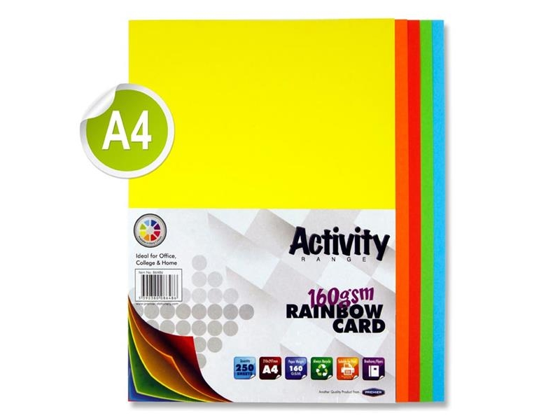 Rainbow Card A4 250 Pack - 160gsm