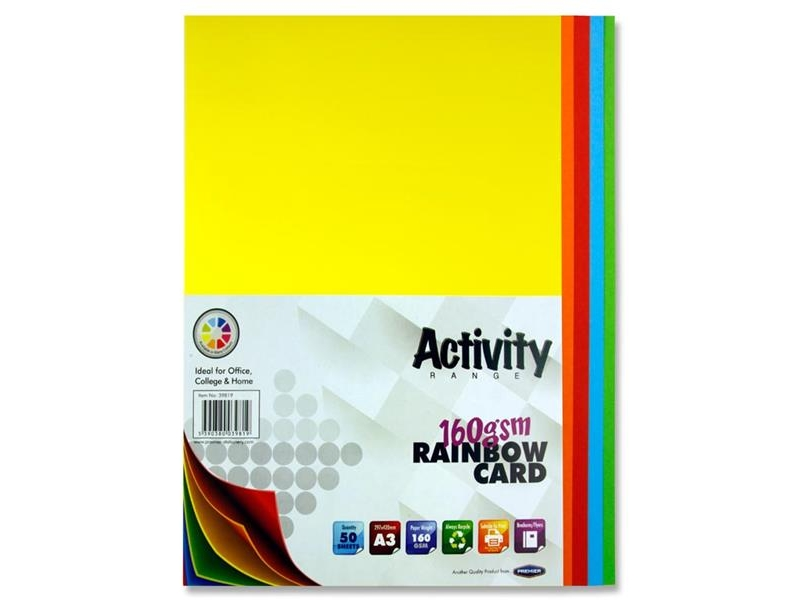 Rainbow Coloured Card A3 50 Pack 160gsm