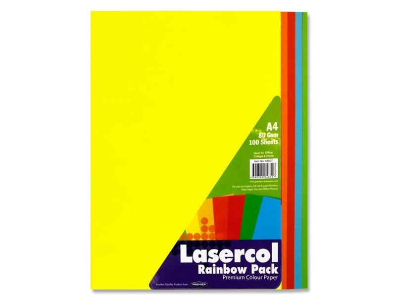 Rainbow colour paper a4 100 pack 80gsm