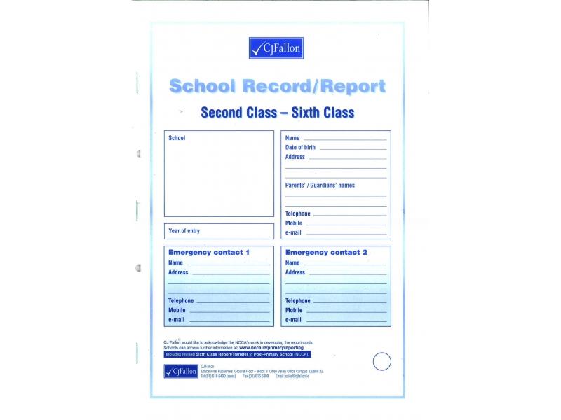 Report Card 2nd Class-6th Class - Cj Fallon