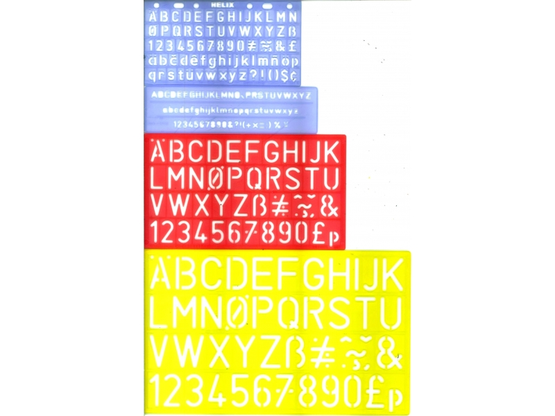 Stencil 4 Pack - 5mm, 10mm, 20mm, 30mm - Capital Letters