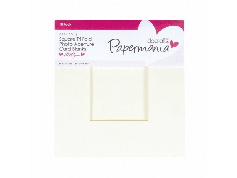 Papermania - Square Tri Fold Card Blanks & Envelopes Cream 10pk