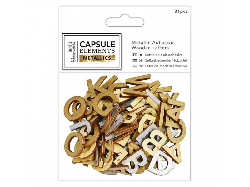 Papermania - Adhesive Wooden Letters Metallic 81pcs