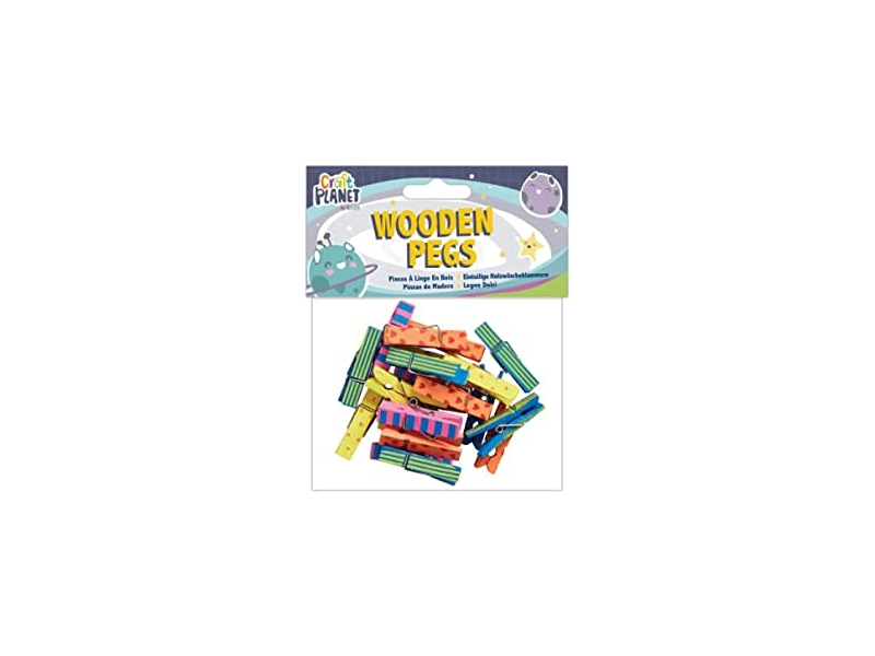 Craft Planet - Wooden Pegs Patterned 20pcs