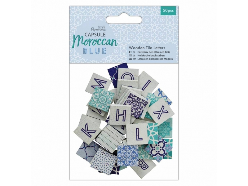 Papermania - Wooden Tile Letters Moroccan Blue 50pcs