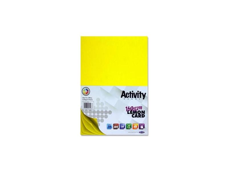 Yellow Card (Lemon) A4 50 Pack 160gsm